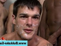 Gay bukkake suck fuck and cum facial
