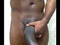 black guy solo jerking