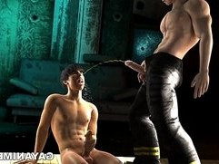 3D stud gets a golden shower before getting her ass fucked by a fireman