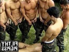 Army dude gets down by hot and hunky comrades
